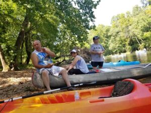 family on the river